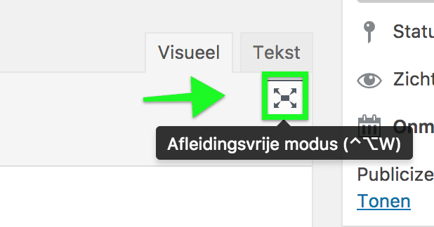 Afleidingsvrije modus activeren in WordPress