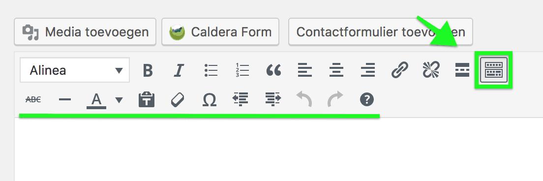 Extra hulpmiddelen in de standaard WordPress editor