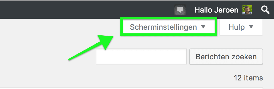 Scherminstellingen in WordPress